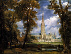 Classic Englsih Church Landscape Art Print: View of Salisbury Cathedral