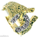 Lucky Double Horseshoe 18kt Gold EP Lucky Two Tone Mens Ring