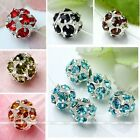 Sliver Plate 8mm Colorful Crystal Glass Spacer Ball Flower Beads Finding Fashion