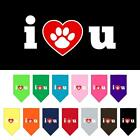 I Love U Screen Print Dog Bandana Valentines Day Dog Collar Present Puppy Love