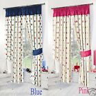 Childrens Kids Stars Thermal Blackout Curtains Bedroom Curtains Pink Blue