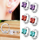 WOMEN LADY HUGGIE EARRINGS CUBIC ZIRCONIA 925 STERLING SILVER PLATED PERFECT