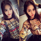 Women Sheer Print O-Neck Long Sleeve Shirt Vintage Loose Casual Street Wear Tops