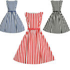 Women Striped Vintage Style 50s 60s Rockabilly Party Prom Gown Pinup Swing Dress