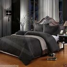 100% Egyptian Cotton 500 Thread Count Damask Jacquard Duvet Cover Bed Set BLACK