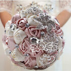 Pugster Handmade White Rhinestone Satin Ribbon Wedding Bouquet Pearl Pin Brooch