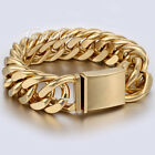 20mm Mens Chain Gold Tone Double Curb Rombo Stainless Steel Bracelet Fashion NEW
