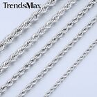 2/3/4/5/6/7mm MENS Chain Unisex Silver Tone Rope Stainless Steel Chain Necklace