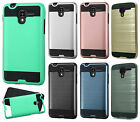 For Kyocera Hydro View Brushed Metal HYBRID Rubber Case Phone Cover Accessory