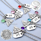 Unisex Slice Pizza BFF Rhinestone Pendant Chain Necklace Friendship Friends Gift