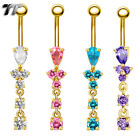 TT 14K Gold GP CZ Dangle Belly Bar Ring (BL128)