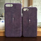 CAPIS Purple Real Stingray Skin Leather Protective Case Cover For iPhone 7 Plus