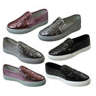 Girls Skate Glitter Flat Pumps Sparkle Slip On Thick Sole Plimsoles Trainers