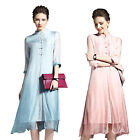 New Women Fashion Summer Vintage Silk 3/4 Sleeve False Two-piece Cocktail Dress