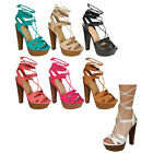 Breckelle's CE05 Women's Platform Chunky Heel Lace Up Gladiator Calf Sandals