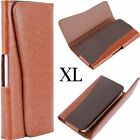 for XL LARGE Phones HORIZONTAL BROWN Leather Pouch Holder Belt Clip Holster Case
