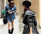 Women's Denim Jean Trench Oversized Hoodie Hooded Jeans Coat Jacket Top - CB