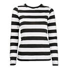 Long Sleeve Stripe Striped Shirt Black White Women's XS S M L XL XXL