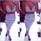 Hot Sexy Women's Stripe Crop Top High Waisted Bodycon V Neck Knee Length Dress S