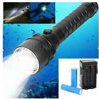 8000Lm T6 3x LED Diving Flashlight Waterproof Torch Light 2x18650 Charger