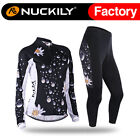 130 Nuckily Women's  Sports Cycling Jersey and Padded Tights Pants Long Set