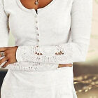 New Design Women Long Sleeve Shirt Lace Blouse Loose Top Casual T-shirt