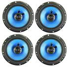 "QPower 6.5"" 300W 2-Way Blue Car Audio Stereo Coaxial Speaker Set, 4pk 