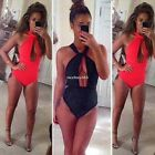 Women Bandage Bikini High Waist Swimsuit One Piece Monokini Beach Swimwear N4U8