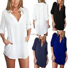AU 8-16 Fashion Women Chiffon Button Long Sleeve Tops Casual Tee Blouse T Shirt