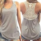 Fashion Women Summer Vest Top Short Sleeve Blouse Casual Lace Tank Tops T-Shirt
