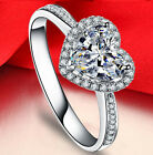 White sapphire  Birthstone 925 Silver Filled Wedding Bridal Ring Gift Size 6-10