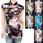 Beautiful Satin Floral Prints Mandarin Collar Cap Sleeves Top Blouse