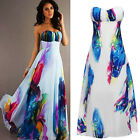 New Fashion Sexy Women Ink Floral High Waist Strapless Large Hem Long Dress