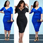 Sexy Women's Ladies Plus Size Deep V-Neck Ruched Bodycon Dresses Fashion