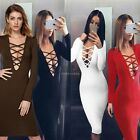 Frauen Damen Langarm V-neck Paket Hip reine Farbe Bodycon Pencil Club Kleid JTOO