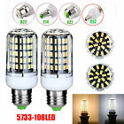 E14 E27 B22 E12 108*5733SMD LED Corn Bulb Light Cover Lamp Energy-Saving220-240V