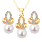 18k GP/silver Austrian Crystal necklace Pearl earring jewelry set wedding gift