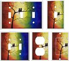 LOVE BIRDS IN A TREE  MY ORIGINAL ABSTRACT ART LIGHT SWITCH COVER PLATE  K1