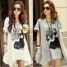 Women's Fashion Short Sleeve Loose Tops Long T-Shirt Casual Blouses Tops New  S