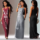 New Women Summer Casual Sleeveless Animal Printed Slim Maxi Long Dress Sundress