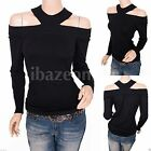 Stunning Black Knit Off Shoulders Long Sleeves Blouse Top