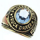 Professional Truck Driver Aquamarine Stone Gold Plated Mens Ring