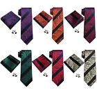 Landisun US Location Striped Paisley Mens Silk Neck Tie Set: Tie+Hanky+Cufflinks