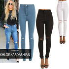 Ladies Ripped Knee Sexy Skinny Jeans Womens High Waisted Legging 6 8 10 12 14 16