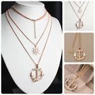 Women's Charm Crystal Rhinestone Gold Plated Anchor Sweater Necklace Pendant