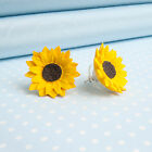 SUNFLOWER EARRINGS studs or clips.Hand-painted flower jewellery made in Wales,UK