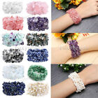1X Natural Elastic Gems Crystal Quartz Freeform Chip Beads Band Bracelet Jewelry