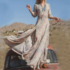 Women Long Maxi 3/4 Sleeve Dress Summer Full Length Boho Casual Chiffon Floral