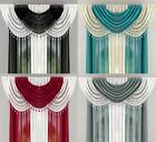 MILLIE SHEER VOILE BEADED 6 PEICE SWAG SET WITH HEART BEADS - Many Colours