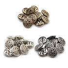 10 Pcs Hollow Flower Carve Metal Round Shank Buttons For Shirt Coat Sewing 20mm